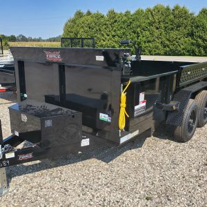 Front left side of the 2021 Force 6X10 5 Ton Dump Trailer