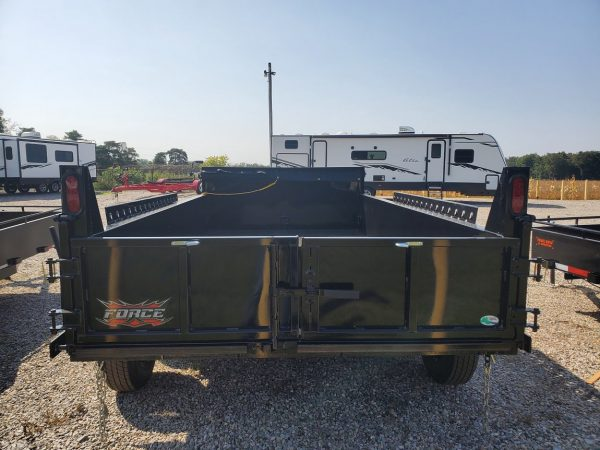 Rear view of the 2021 Force 6X10 5 Ton Dump Trailer