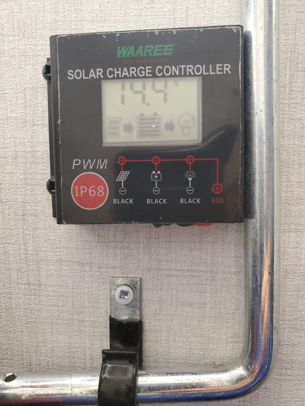 Solar charging controller on the 2021 Alta Travel Trailers 2350-KRK Rear Kitchen