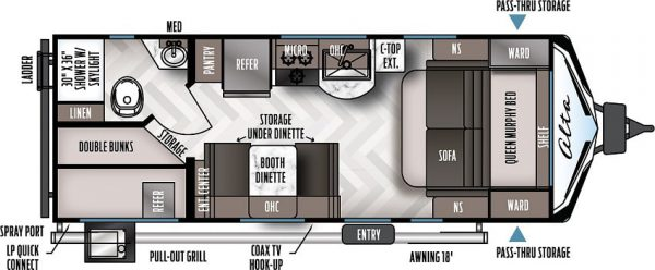 2021 Alta Travel Trailer 2100-MBH Bunk House floor plan