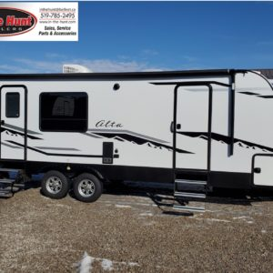 Exterior view of the 2021 Alta Travel Trailers 2350-KRK Rear Kitchen