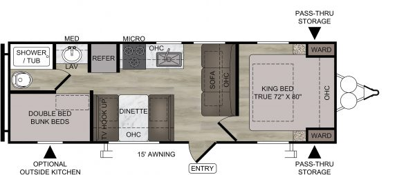 2021 Della Terra 250BH - Bunk house with King Front Bed floor plan