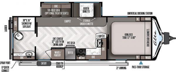 2021 Alta Travel Trailers 2600-KRB Rear Bath floor plan