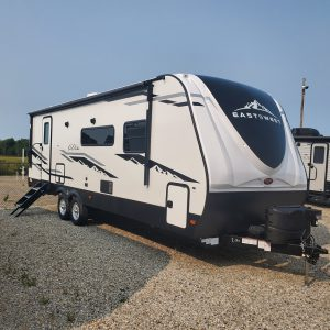 Exterior view of the 2021 Alta Travel Trailers 2600-KRB Rear Bath