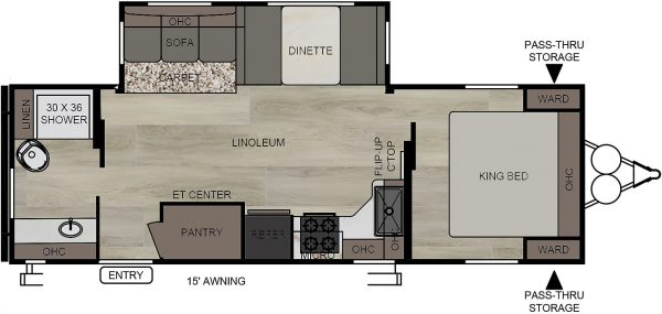 2020 Della Terra DET261RB Rear Bath floor plan