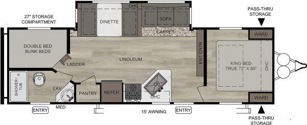 2021 Della Terra 271BH Bunk House with Slide floor plan