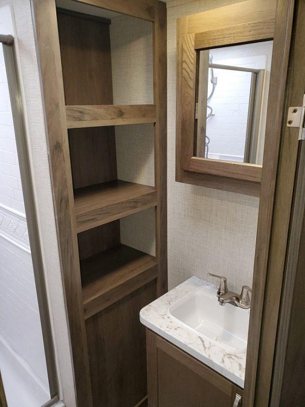 View of the bathroom inside the 2021 Della Terra DET291RK