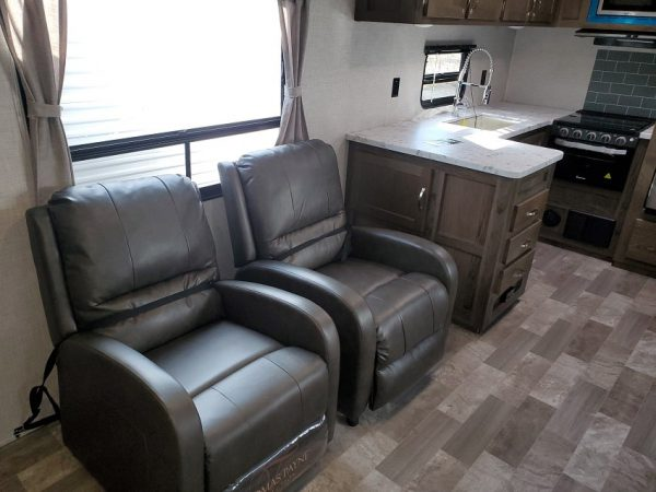 View of both reclining chairs inside the 2021 Della Terra DET291RK