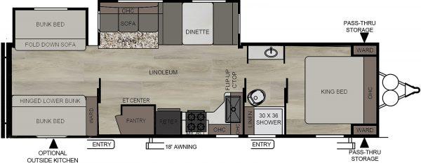 2021 Della Terra 312BH Dual Slide Bunk House floor plan