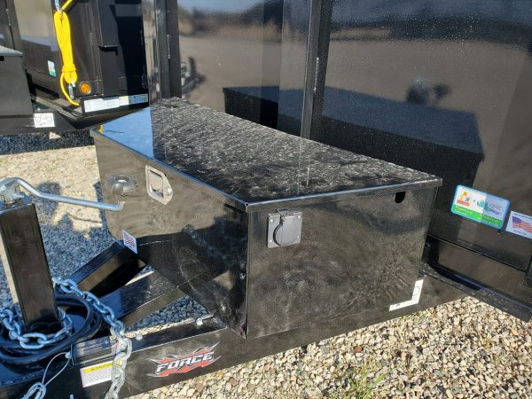 Front mechanical & battery box on the 2021 Force 5X10 3.5 Ton Dump Trailer