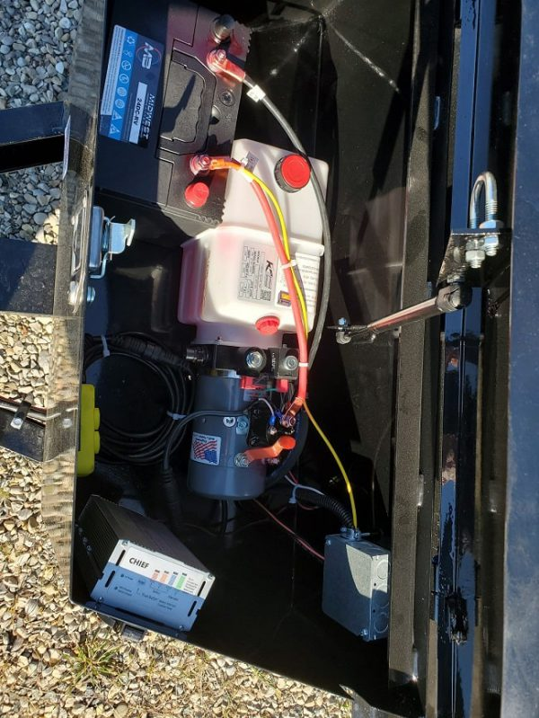 Interior of battery box on the 2021 Force 5X10 3.5 Ton Dump Trailer
