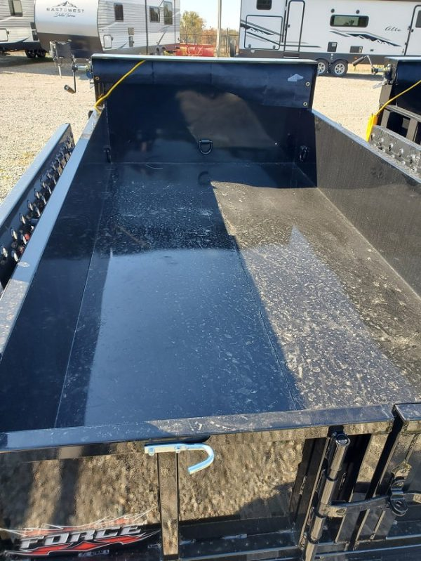Interior deck view of the 2021 Force 5X10 3.5 Ton Dump Trailer