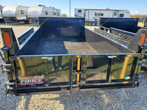 Rear view of the 2021 Force 5X10 3.5 Ton Dump Trailer