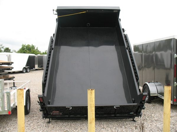 View from the rear of the 2021 Force 80x12 12,000lbs GVWR Dump Trailer