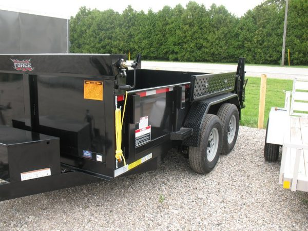 Front left side view of the 2021 Force 80x12 12,000lbs GVWR Dump Trailer