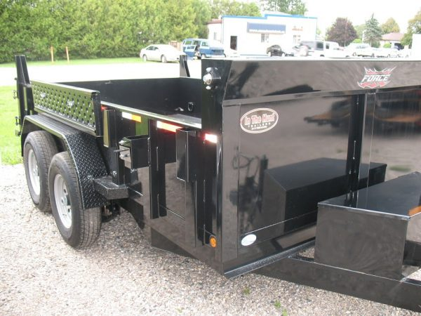 Front right side of the 2021 Force 80x12 12,000lbs GVWR Dump Trailer