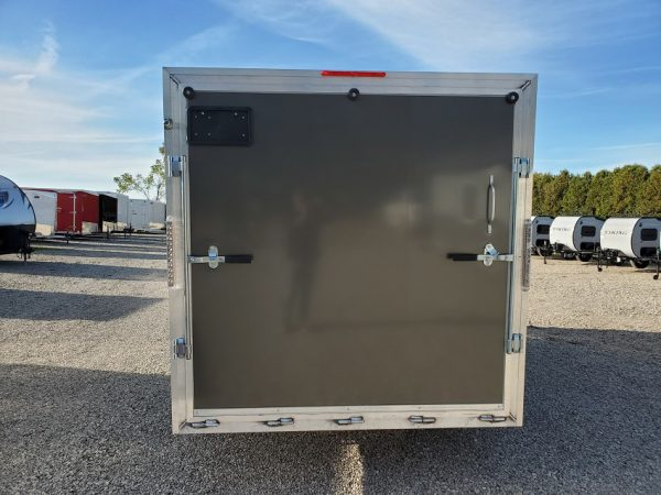 Rear of the 2021 Tow Tek Manufacturing 7X19 All Aluminum Drive In Drive Out