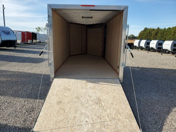 Rear ramp door and interior of the 2021 Tow Tek Manufacturing 7X19 All Aluminum Drive In Drive Out