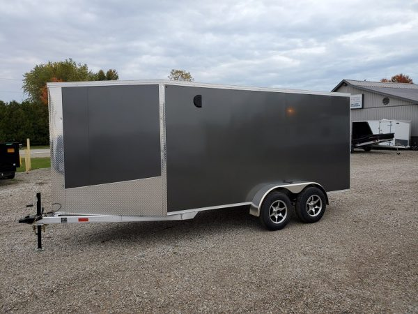 Front left of the 2021 Tow Tek Manufacturing 7X19 All Aluminum Drive In Drive Out