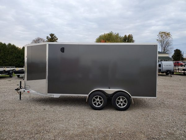 Left side of the 2021 Tow Tek Manufacturing 7X19 All Aluminum Drive In Drive Out