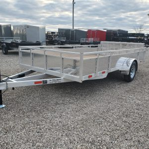 Front left view of the 2021 Tow Tek 7x14 All Aluminum