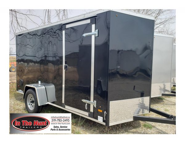 Front left of the 2022 In The Hunt Trailers 6X12 Enclosed with Rear Ramp in black