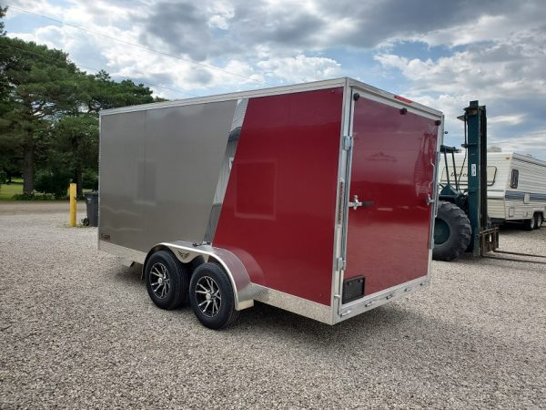 Left rear view of the 2021 Tow Tek Manufacturing 7X14 All Aluminum With Rear Ramp