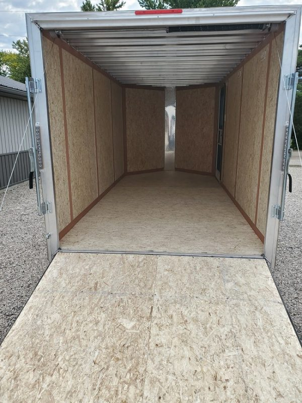 Rear interior view of the 2021 Tow Tek Manufacturing 7X14 All Aluminum With Rear Ramp