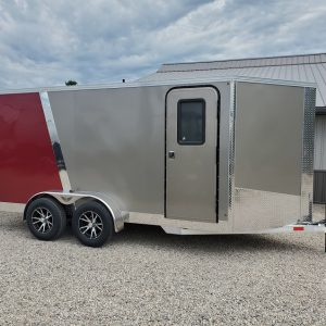 Right side of the 2021 Tow Tek Manufacturing 7X14 All Aluminum With Rear Ramp