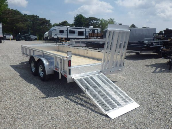 Rear of the 2021 7x16 All Aluminum HD Landscape with one ramp lowered